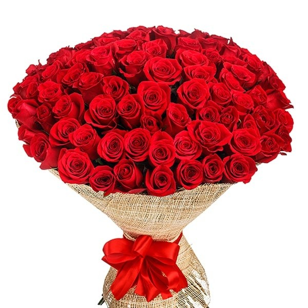 100 Red Roses In Bouquet Send To Philippines Roses Bouquet