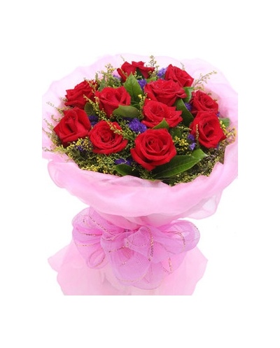 12 red roses with small floral - Red Garden Rose Bouquet