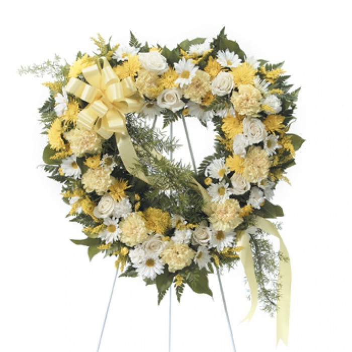 white and yellow sympathy heart shaped standing wreath send to