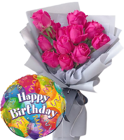 Online 12 Pink Rose Bouquet With 1 Piece Happy Birthday Balloon To