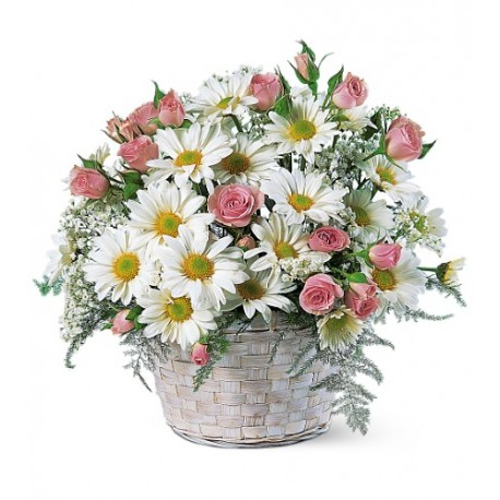 Pink flower basket of roses and daisy to philippines pink flower basket of roses daisy mightylinksfo