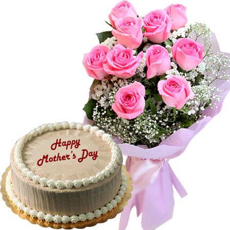 12 Pink Rose Bouquet With Classic Mocha Chiffon Cake By Goldilocks