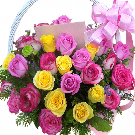 Buy 24 pinkred yellow roses basket to philippines 24 pinkred yellow roses basket to philippines mightylinksfo