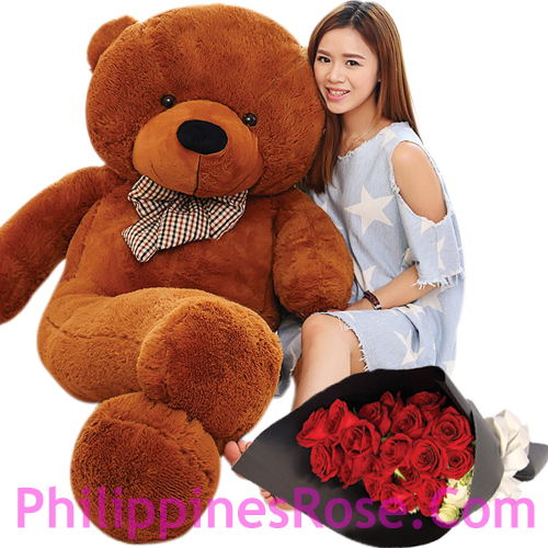 Red Teddy Bear 5 Feet, Buy 12 Red Roses Bouquet With 5 Feet Giant Teddy Bear To Philippines