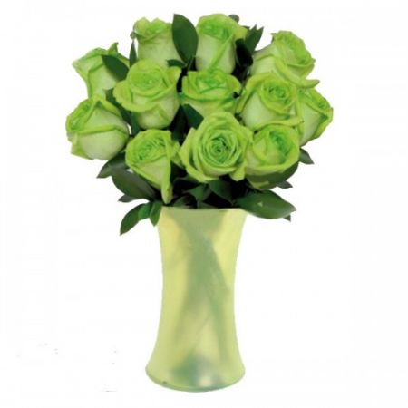 Send 12 Green Roses With Free Vase To Philippines
