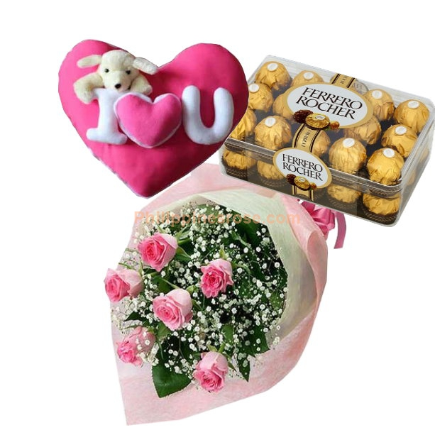 6 Pink Roses Bouquet,Ferrero Box with Pillow by Bear to Philippines