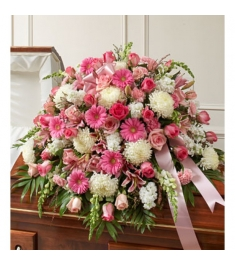 Pink and White Sympathy Casket Spray  Send to Philippines