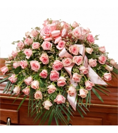Roses in Pink Casket Spray  Send to Philippines