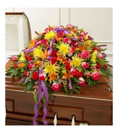 Vivacious Funeral Casket Flowers Spray  Send to Philippines