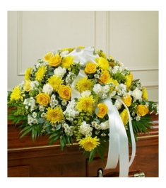 White and Yellow Bliss Casket Flower Spray  Send to Philippines
