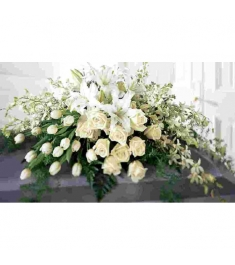White Tribute Casket Flowers  Send to Philippines
