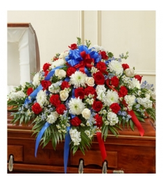 Blue and White Casket Spray  Send to Philippines
