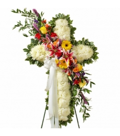 Luxurious Funeral Cross Flowers  Send to Philippines