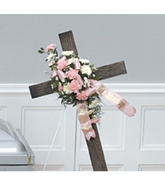 Wooden Cross Flower Tribute  Send to Philippines