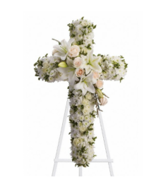 All-White Cross Standing Spray  Send to Philippines