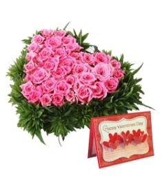 60 Heart shape Pink Roses