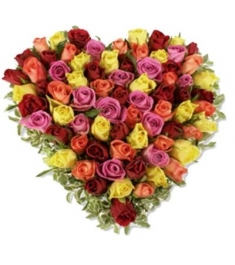 100 Heart shape Mixed Roses