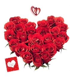 24 Red Roses heart shape Arrangement