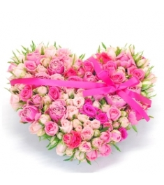 Heart Shape Arrangement of 100 Pink Roses