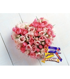 36 Pink Roses Heart with Cadbury Chocolates