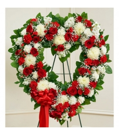 Patriotic Funeral-Flower Heart Wreath  Send to Philippines