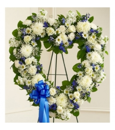 Blue and White Heart Wreath  Send to Philippines