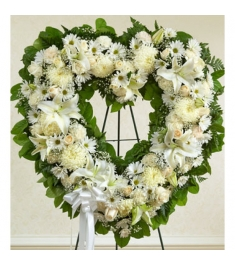 Angelic All White Heart Wreath  Send to Philippines