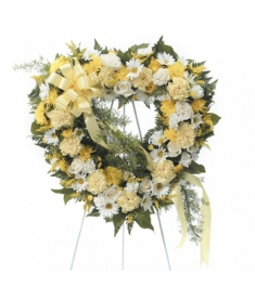 White and Yellow Sympathy Heart Shaped Standing Wreath  Send to Philippines