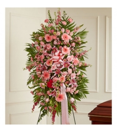 Pink Explosion Funeral Standing Spray  Send to Philippines
