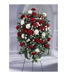 Red and White Local Funeral Standing Flowers   Send to Philippines