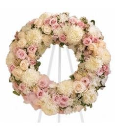 For the Love of White and Pink Wreath  Send to Philippines