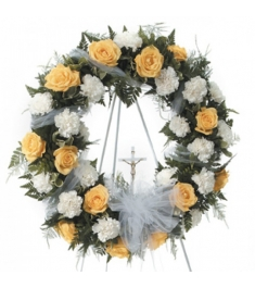 Sincere Peach and White Funeral Wreath  Send to Philippines