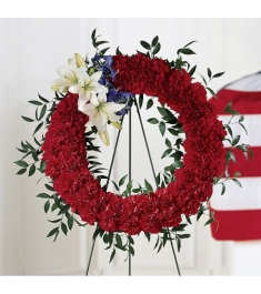 Red, Blue and White Wreath  Send to Philippines