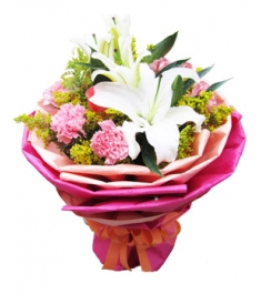 11 Pink Carnations with White Lilies