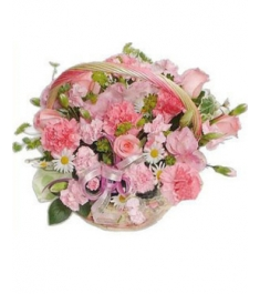 Pink Flowers Basket to Philippines