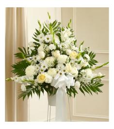 Heartfelt Sympathies White Standing Basket  Send to Philippines