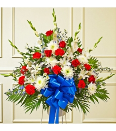 Red White And Blue Sympathy Funeral Basket  Send to Philippines