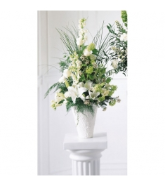 Traditional Sympathy White Flowers  Send to Philippines