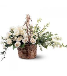 White Flower Basket  Send to Philippines