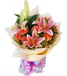 Pink Roses & Pink Lily Bouquet