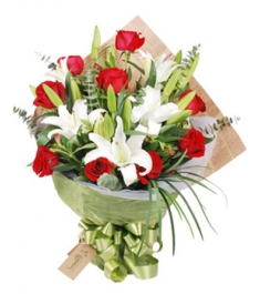 9 Red Roses with 3 White lilies