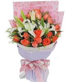 19 Pink Roses and 3 White lilies Bouquet