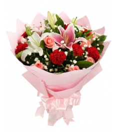 6 red carnations, 9 pink roses, 2 stalks perfume white and pink lilies to philippines