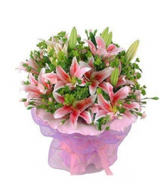 9 pink lilies, with green leaves, pink circular packaging to philippines