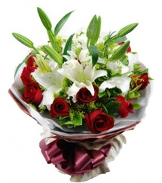 11 Red Roses & 2 White Perfume lilies