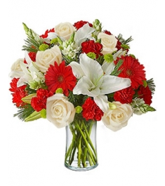 9 White Roses,6 Red Gerberas,2 White lilies & 9 Red Carnations