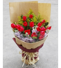 16 Red Tulips