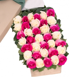 2 Dozen Pink and White Roses Online Order to Philippines