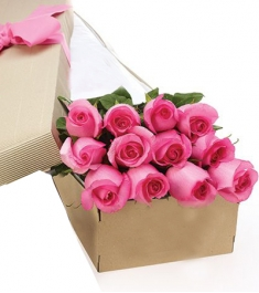 1 Dozen Pink Long Stem Roses in a Box Online Order to Philippines