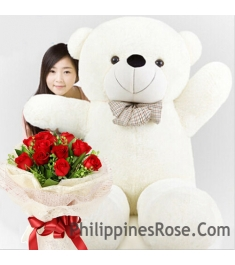 red rose bouquet with giant bear to philippines
